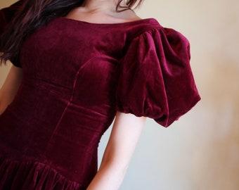 VTG Burgundy Velvet Pouffy Sleeve Princess Girly Feminine Victorian Inspired Dress