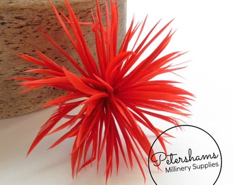 Goose Biot Feather Pom Hat Mount for Millinery, Fascinators & Hats - Red
