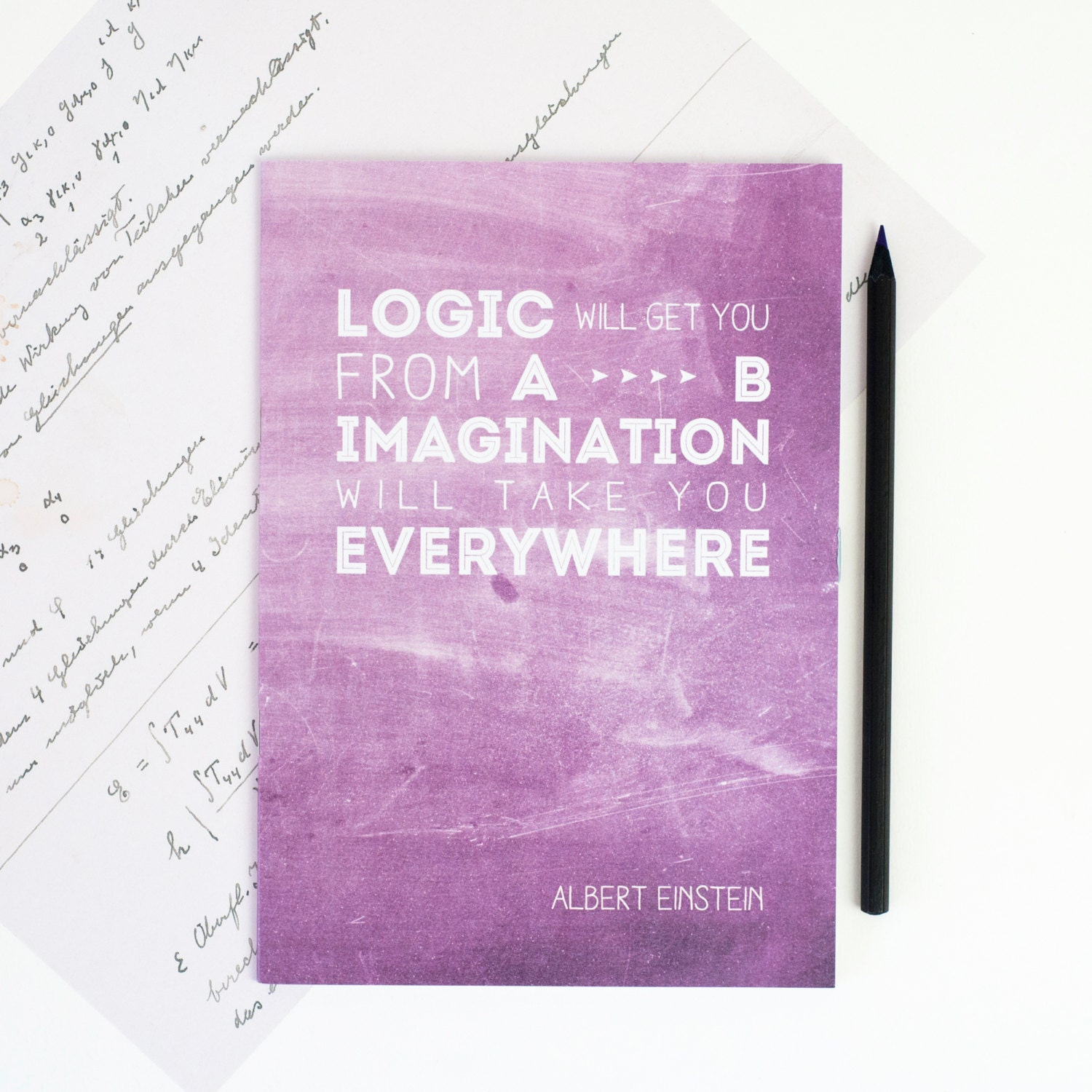 Quotes From The Notebook Book: EINSTEIN QUOTE NOTEBOOK Inspirational Purple Note Book Famous