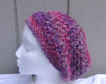 Slouchy purple beanie - Crochet slouchy hat - Womens hats - Teens accessories - Teens slouchy hat