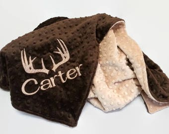 Personalized Minky Baby Blanket with Antlers - Brown and Tan