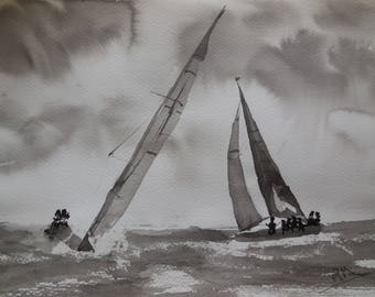 India ink on paper sailboats