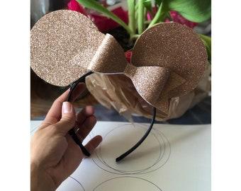 Mini inspired gold glitter ears