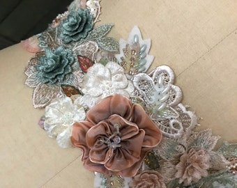 Heirloom Collection Hand Beaded Appliqué Sash