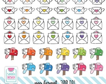 72 Doodle Mail Clipart. Envelope Clipart. Mailbox Clipart. Personal and comercial use.