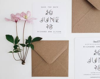 Minimal Clematis || Save The Date, Wedding Invitation Suite, Handmade Wedding Invitation, Wedding Announcement, Unique Wedding Invitations