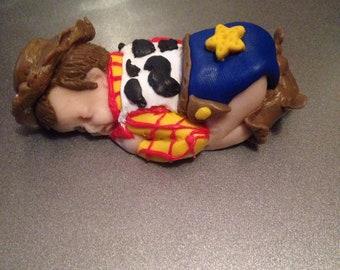 "OOAK 2.5"" Woody Toy Story Sleeping Baby Polymer Clay Cake Topper Keepsake Figurine Gift"