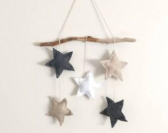Star wall hanging, driftwood art, nursery art