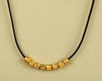 Short gold necklace, Gold beaded necklace, Gold leather necklace, Short beaded necklace, Classic everyday necklace, Gold leather necklace
