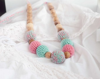 FREE SHIPPING  Crochet nursing necklace  - mint and pink