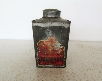 Antique Tin Litho Schepp's Tropical Cocoanut NY Late 1800s Square Canister