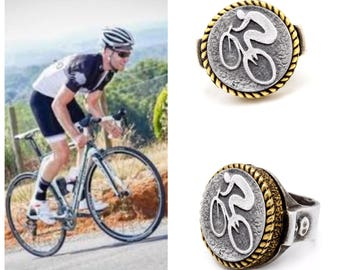 coin ring with the Bicycle coin medallion Noa Tam coin jewelry