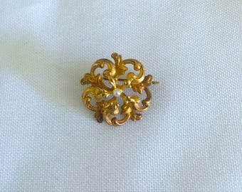 Vintage Victorian Pin 14 kt, Fine Quality Broach, 14 kt Gold Pin, Old with fine small pearl, Pearl Broahc Pin, Fine Jewelry