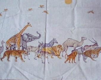 "Vintage 1 yd fabric panel ""Safari"" VIP Cranston Print Works African wild animals screen print"