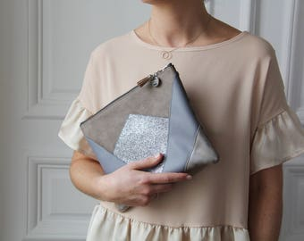 Pocket * NINA * grey. (Suede, faux leather and glitter)