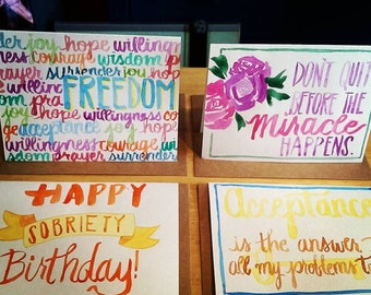 Recovery Themed Handlettered Cards- Bundle of 5 or 10