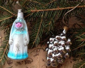 Snow Maiden and cone Christmas ornaments set of 2. Christmas ornament in silver colors. Christmas gift