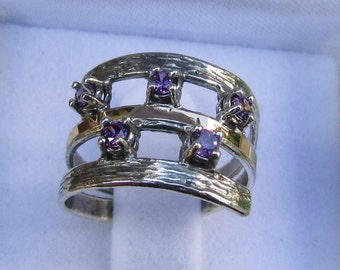 Amethyst Ring, Two Tone Ring, Silver Gold Ring, Stacking Ring, Women Ring, Designer Ring, Mixed Ring, Rings for Women