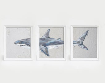 Shark Triptych, Triptych Art Print, Triptych Wall Art, Bathroom Wall Decor, Shark Nursery Art Beach Art Print Shark Wall Art Shark Printable
