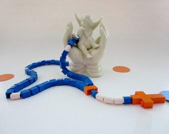 Kids Rosary Rosary Made of Lego® Bricks  - Blue and Orange Lego Rosary - Catholic Rosary