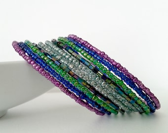 Purple, Green and multi colored seed beads Memory wire bracelet.