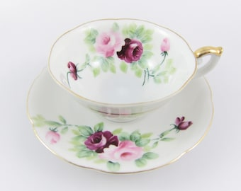 Vintage Lefton Hand Painted Pink and Red Roses Demitasse Teacup and Saucer. Made in Occupied Japan