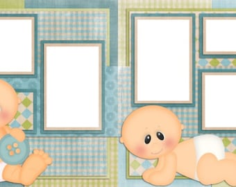 Baby Boy - Digital Scrapbook Quick Pages - INSTANT DOWNLOAD