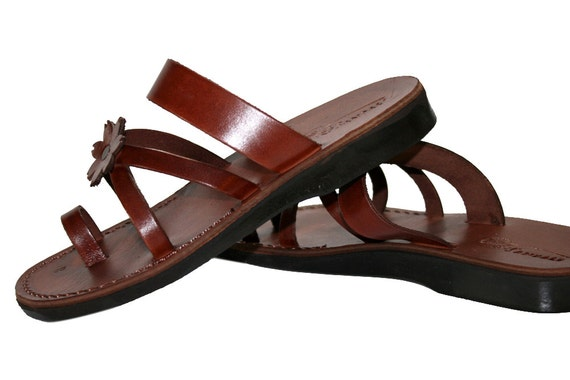 Genuine Jesus Leather For Flower Unisex Sandals Sandals Brown Leather Women Sandals Men cross Handmade amp; Flip Flop Sandals Sandals xI6nwda