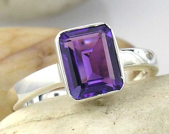 Amethyst Solitaire Ring in Silver. Large Emerald Cut Purple Amethyst Ring in 925 Sterling Silver.
