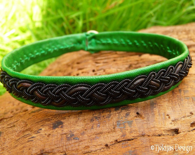 Gothic Viking Pagan Sami Bracelet Cuff JORMUNGANDR Unisex Leather Bracelet with Black Wire and Brown Cord on Emerald Green Lambskin