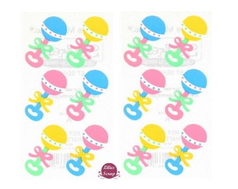 2 boards of 11 Baby Rattles stickers x 6 cm Frances Meyer scrapbooking