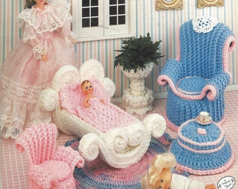 90s Mother's Corner Crochet Doll Furniture for Barbie and Doll Houses Annie's Fashion Doll Home Decor Crochet Collectors Guild 537B