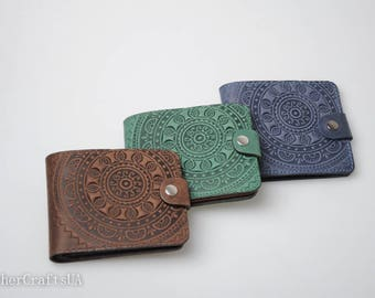 Soft leather wallet, ladies wallet, pocket wallet, leather billfold, embossed billfold, billfold wallet, small wallet women's, gift for her