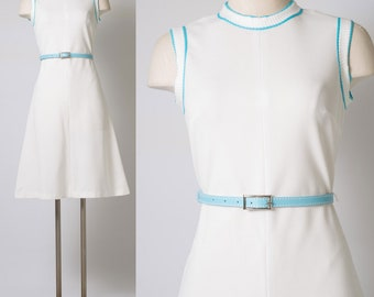 60s Dress,Mod White Dress,Mod dress, Mod 60s Dress, Mad Men Dress, Vintage White dress, Vintage Sleeveless Dress,White turquoise dress - S/M