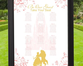 Digital Rose And Gold Beauty And The Beast Wedding Seating Chart | Printable Wedding Seating Chart |  Wedding Seating Sign | lovebirdslane