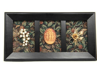 Framed Vintage Jewelry Art on Tapestry - In the Garden