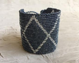 Vintage Hand Beaded Cuff Bracelet