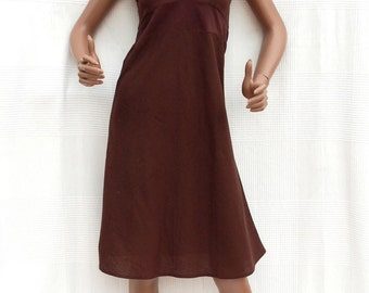 Dress without sleeves chocolate brown, Indian dress, Indian Crafts