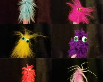 Wacky silly colorful furry finger puppets
