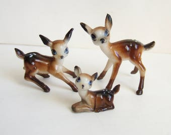 Three Kitsch Deer - Cute Little Vintage Plastic Bambi Figurines