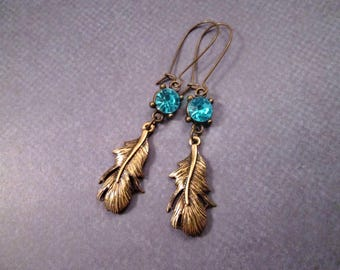 Feather Drop Earrings, Aqua Blue Resin Rhinetones, Brass Dangle Earrings, FREE Shipping U.S.