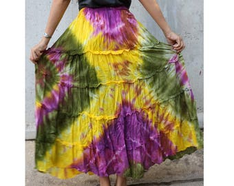 Green Yellow Purple Tie Dye Cotton  Boho Hippie Gypsy Comfy Summer Casual Long Elastic Waist Skirt  Short dress S-L (TD 166)