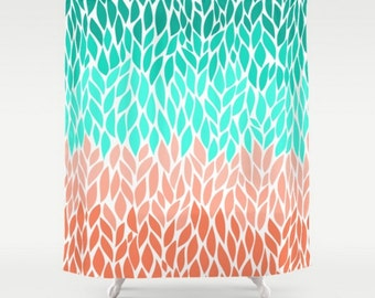 Teal Coral Mint Green Shower Curtain Leaf Design Pattern Home Bathroom Decor Add A Matching Bath Mat