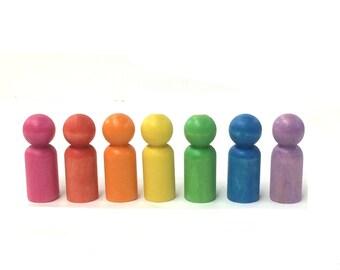 7 rainbow painted peg people