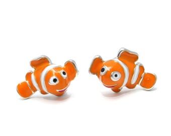 Clown fish earrings 925 sterling silver