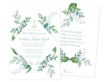 Boys First Communion Invite, Greenery First Communion, Boys First Communion, DIY Invitations, Editable Template First Communion Invite, Leaf