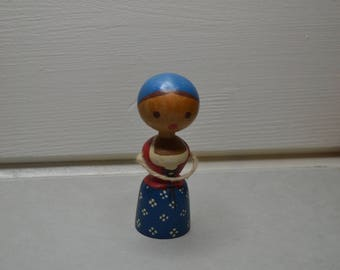 WOODEN PEG DOLL Figurine Ornament. String Arms. Painted Lady. Desk companion. Shelf decoration. Wooden Toy