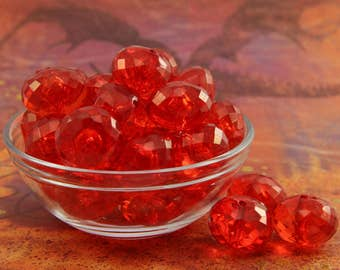 Red Clear Saucer Beads