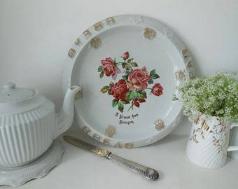 """Antique bread plate, bread platter. """"Present From Ramsgate"""""""