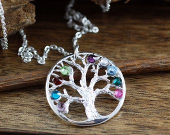 Silver Family Tree Necklace, Personalized Tree of Life Necklace, Grandmother's Necklace, Gift for Grandma, Mothers Day Gift, Gift for Mom